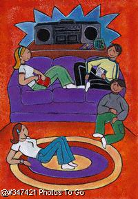 Illustration: Teens hanging out